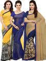 Combo of  3 Ishin Printed Faux Georgette Yellow Beige & Blue Sarees -is05
