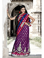 Embroidered Viscose Saree - Magenta & Navy Blue