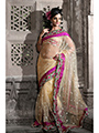 Embroidered Net Saree - Beige-918