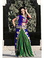 Embroidered Faux Shimmer Georgette Saree - Green & Blue