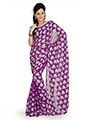 Printed Georgette Jacquard Saree - Purple-730