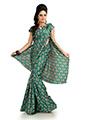 Printed Khadi Silk Saree - Green