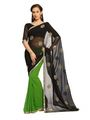 Designer Sareez Faux georgette Embroidered Saree - Black and Green