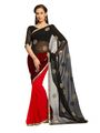 Designer Sareez Faux georgette Embroidered Saree - Maroon and Black