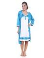 Fasense Satin Nightwear - White Turquoise