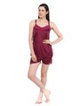 Fasense Satin Nightwear - Wine-DP041 C
