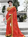 Indian Women Bandhani Print Georgette Red Designer Saree -IC11346
