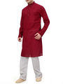 Ishin Cotton Plain Kurta Pajama For Men_indsh-101 - Red