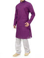 Ishin Cotton Plain Kurta Pajama For Men_indsh-105 - Purple