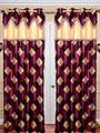 Set of 2 JBG Fancy Lace Check design Door Curtains - Purple & Cream- JBG434