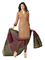 Javuli Printed Cotton Dress Material - Light Brown & Green