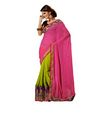Kaia Georgette Embroidered Saree - Green And Pink