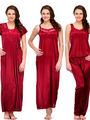 Set of 4 Satin Plain Nightwear-ONW_15_2004_MAROON