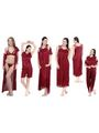 Pack of 6 Fasense Satin Nightwear - Maroon