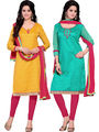 Khushali Fashion Chanderi & Khadi Embroidered Dress Material With Two Top -Sglon220001