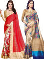 Combo of 2 Regalia Ethnic Printed Bhagalpuri Multicolor Sarees -Ssre108