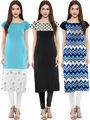 Combo of 3 Trend Factory Printed Crepe Multicolor Kurti -ute88