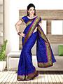 Zoom Fabrics Embroidered Net Saree - Royal Blue