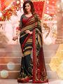 Viva N Diva Georgette & Lightweight Printed Saree - Black