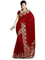 Zoom Fabrics Georgette Embroidered Saree - Red-3146