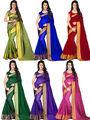 Combo of 6 Bhuwal Fashion Plain Polycotton Designer Saree -bhl22