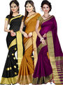 Combo of 3 Zoom Fabric Cotton Silk Plain Sarees_Zmf02