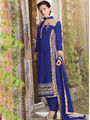 Viva N Diva Semi Bemberg Georgette Embroidered Dress Material - Blue - Riha-7019